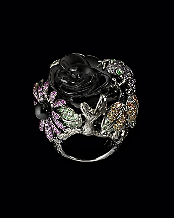 Lydia Courteille Collection - Onyx Diamond Flower Ring: CoutureLab.com
