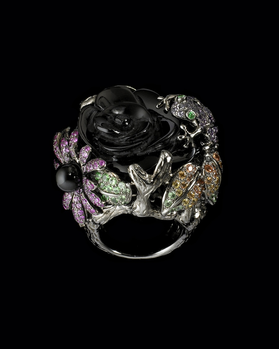 Onyx Diamond Flower Ring - Lydia Courteille Collection - CoutureLab.com