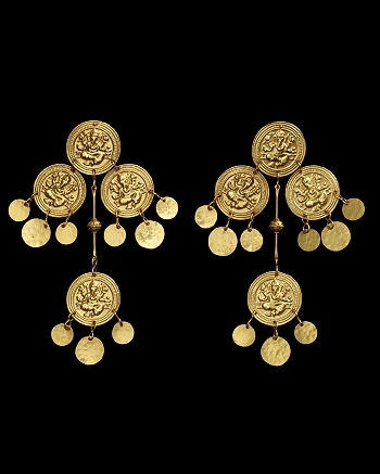 Ganesh Gold Earrings - Lydia Courteille Collection - CoutureLab.com