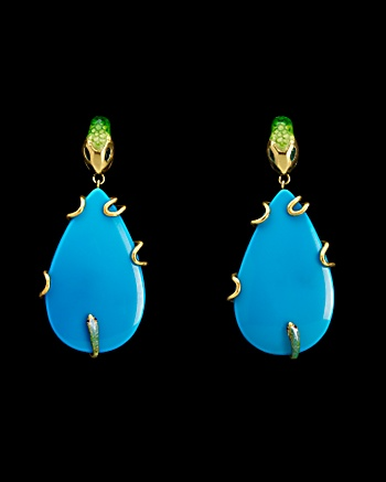 Vicente Gracia for CoutureLab - Turquoise Serpent Earrings: CoutureLab.com