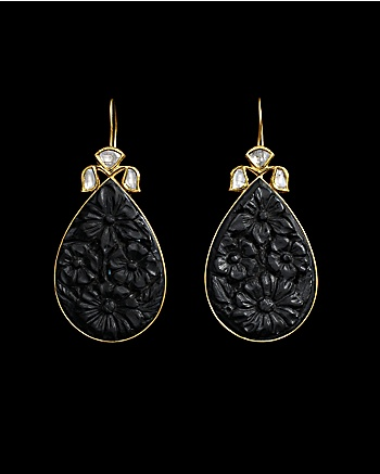 Lydia Courteille Collection - Black Magnolia Earrings: CoutureLab.com