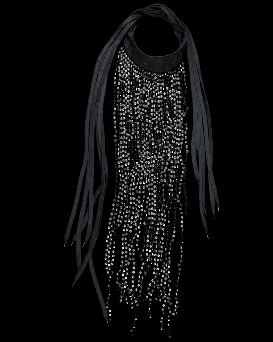 Black Jeweled Ribbon Necklace - Ann Demeulemeester Collection - CoutureLab.com