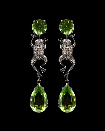 Peridot Drop Frog Earrings - Lydia Courteille Collection - CoutureLab.com
