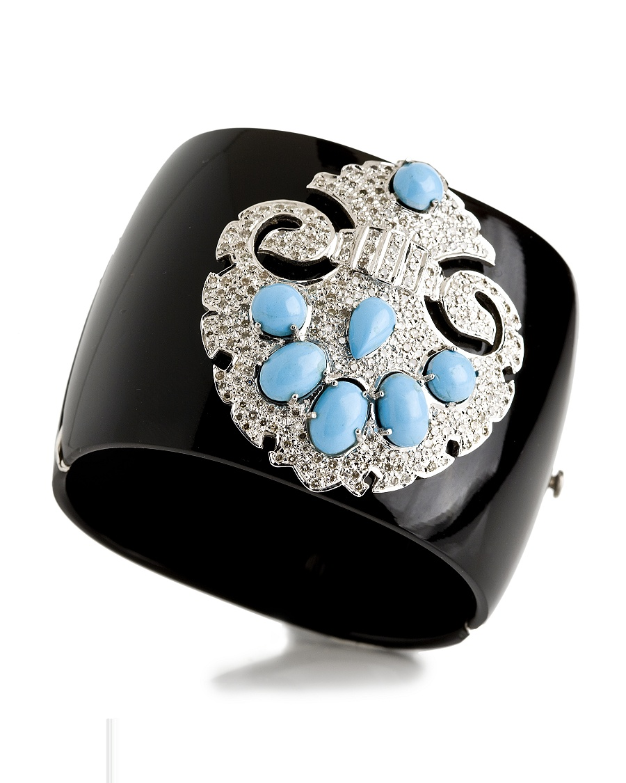 Turquoise and Diamond Cuff - Bochic Collection - CoutureLab.com from couturelab.com