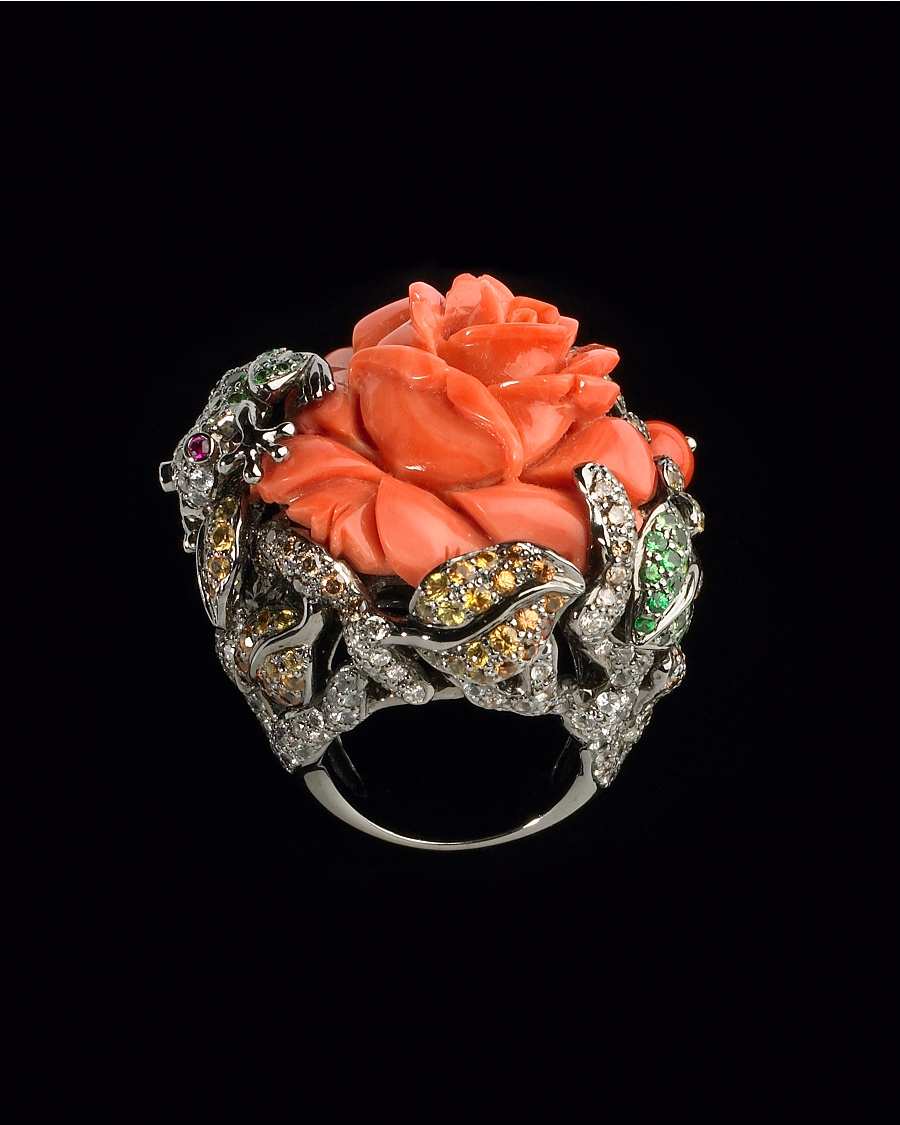 Coral Diamond Flower Ring Lydia Courteille Collection CoutureLab com from couturelab.com