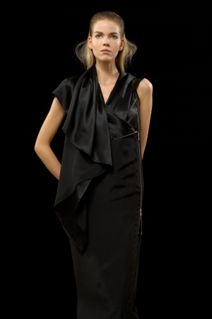 Hamish Morrow Black Long Crepe Satin Drape Collar Dress :  black long drape crepe