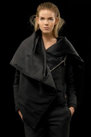Hamish Morrow Black Padded Silk Drape Collar Blouson
