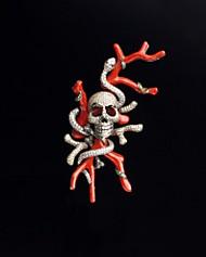 Diamond Skull Brooch